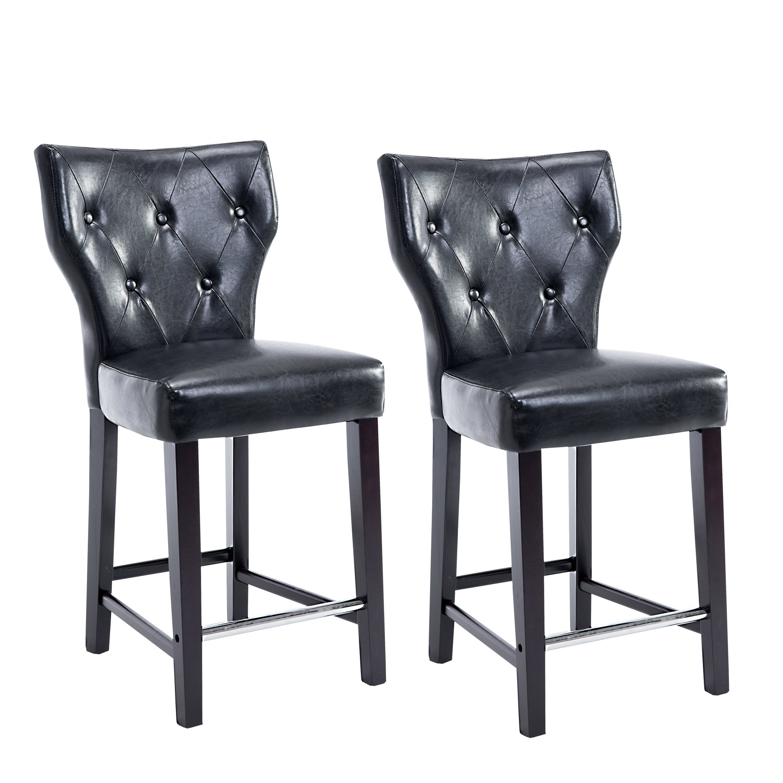 Wondrous Leather Button Tufted Counter Height Bar Stool Set Of 2 Clearance Dailytribune Chair Design For Home Dailytribuneorg