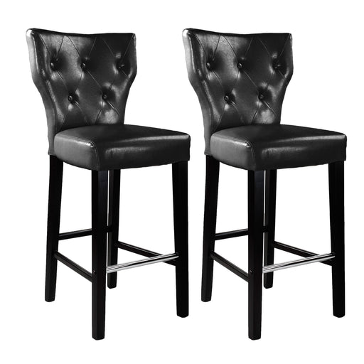 "Antonio PU Leather Button Tufted Bar Height Bar Stool, set of 2 -<body><p style=""color:#ED1C24"";>*CLEARANCE - Final Sale*</p></body>"