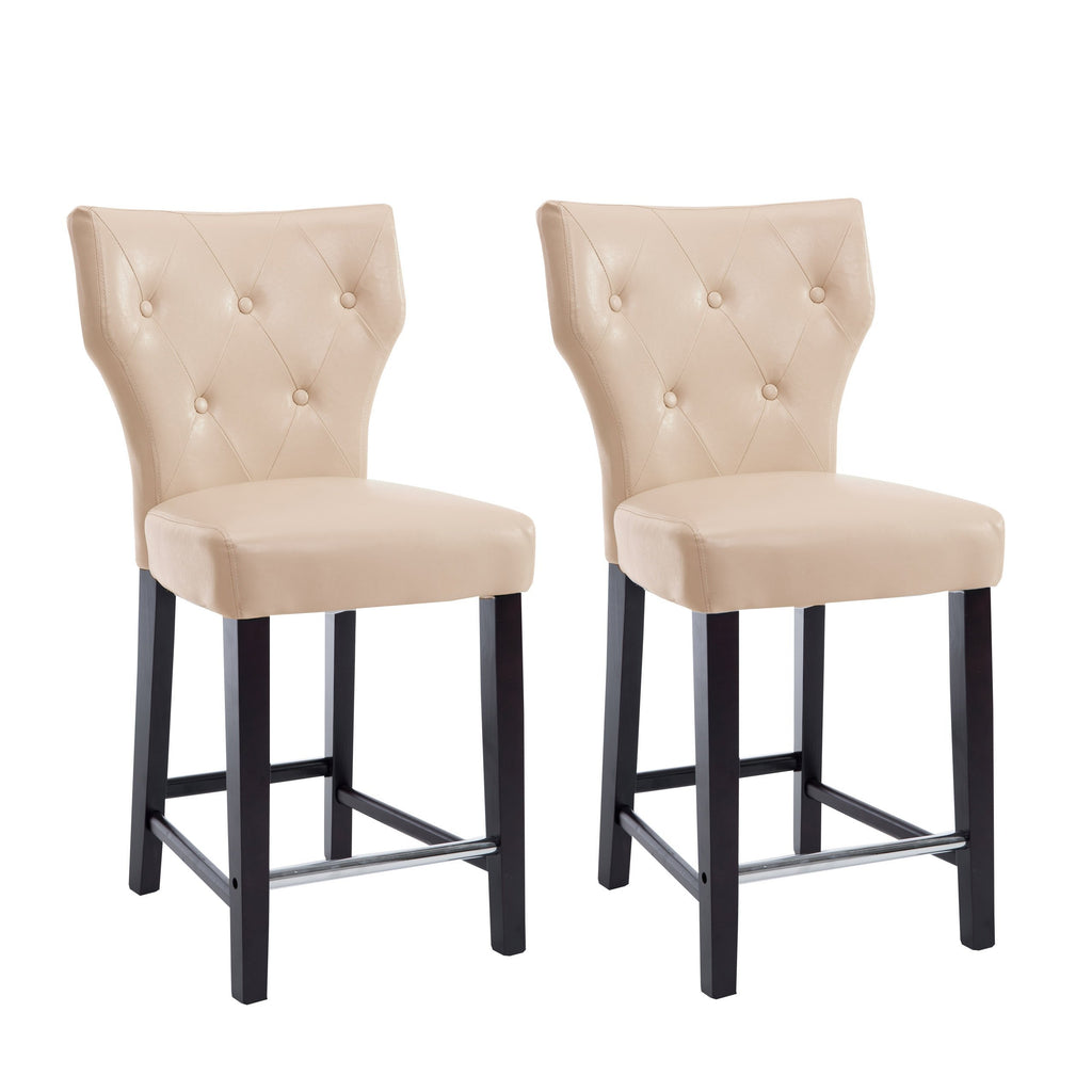 Antonio Faux Leather Button Tufted Counter Height Bar Stool, set of 2 - *CLEARANCE*