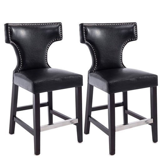 Leather Counter Height Bar Stool with Metal Studs, set of 2