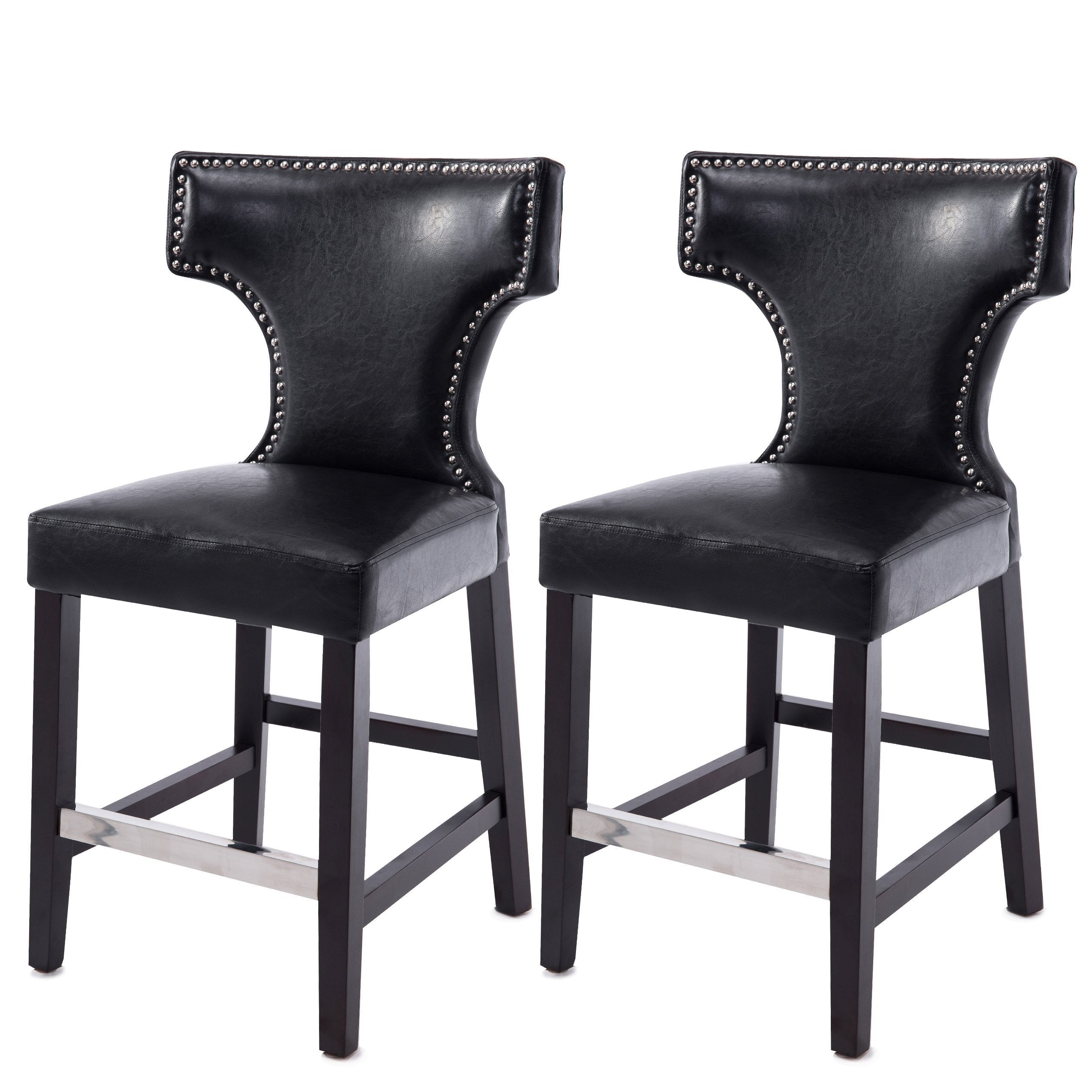Leather Counter Height Bar Stool With Metal Studs Set Of
