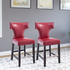 Antonio PU Leather Counter Height Bar Stool with Metal Studs, set of 2