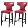 Leather Bar Height Bar Stool with Metal Studs, set of 2