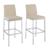 Fabric Bar Stools with Chrome Legs, Bar Height, Set of 2