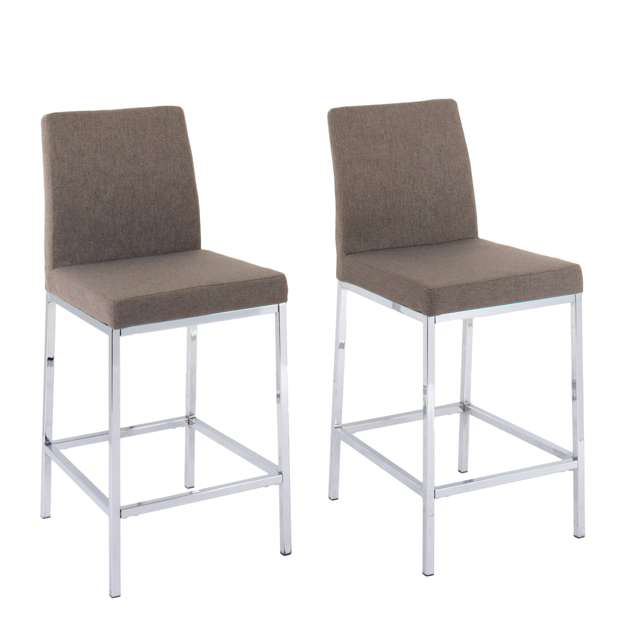 Picture of: Huntington Fabric Bar Stools With Chrome Legs Counter Height Set Of Corliving Furniture Us