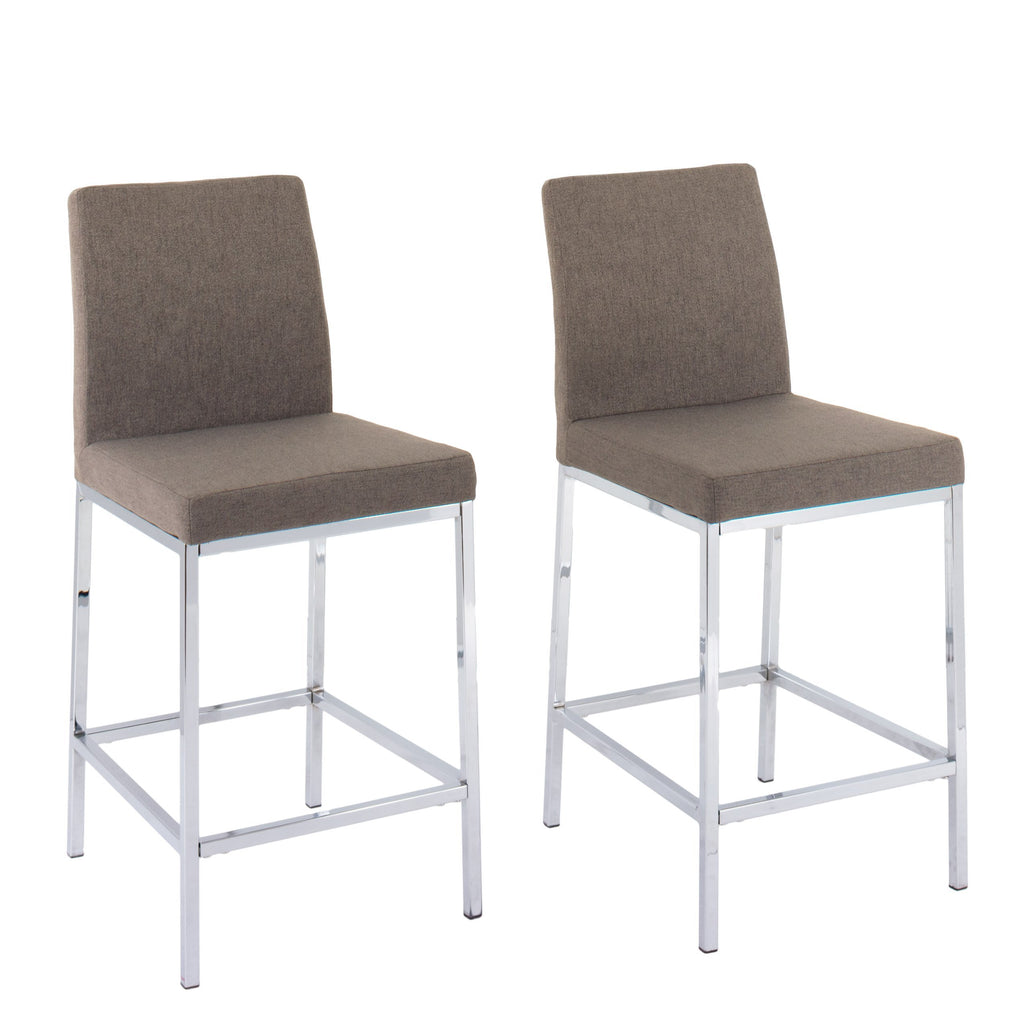 Huntington Fabric Bar Stools with Chrome Legs, Counter Height, Set of 2 - *CLEARANCE*