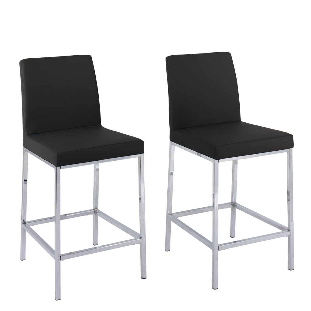 Leatherette Bar Stools with Chrome Legs, Counter Height, Set of 2 - *CLEARANCE*