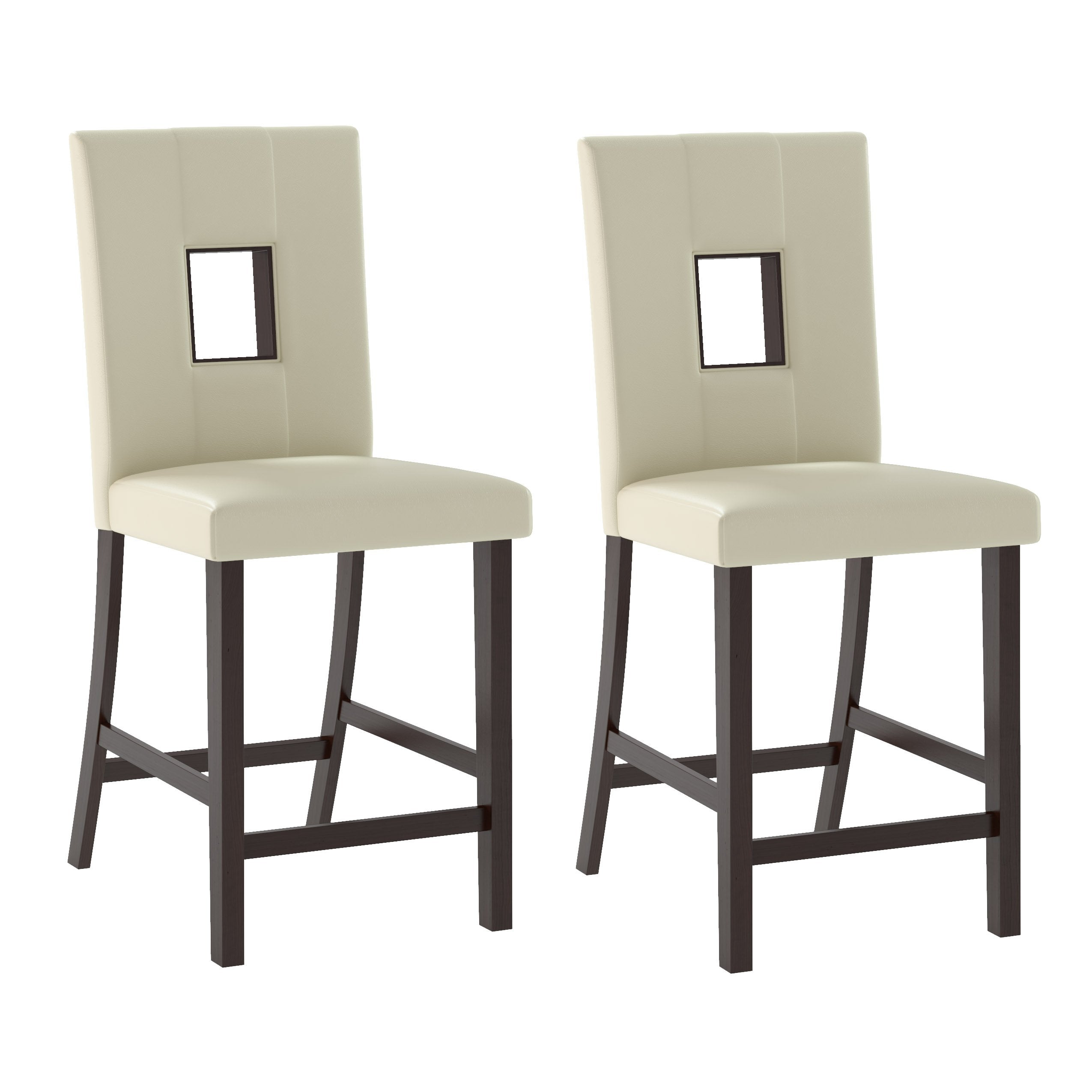 Superb White Leatherette Counter Height Dining Chairs Set Of 2 Pdpeps Interior Chair Design Pdpepsorg