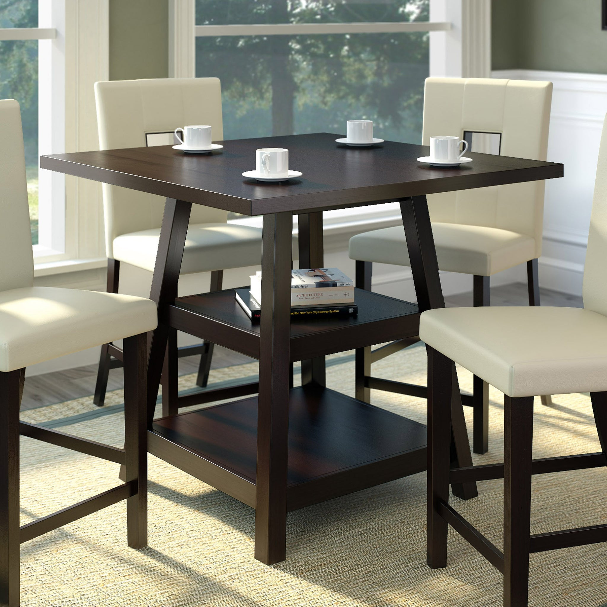 """bistro 36"""" counter height dining table with shelves"""