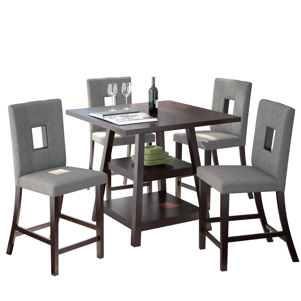 "5 Piece Cappuccino 36"" Counter Height Dining Set -Grey Fabric Chairs"