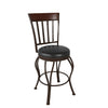 Metal Counter Height Barstool with Glossy Dark Brown Bonded Leather Seat - *CLEARANCE*