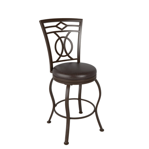 Metal Counter Height Barstool with Dark Brown Bonded Leather Seat - *CLEARANCE*
