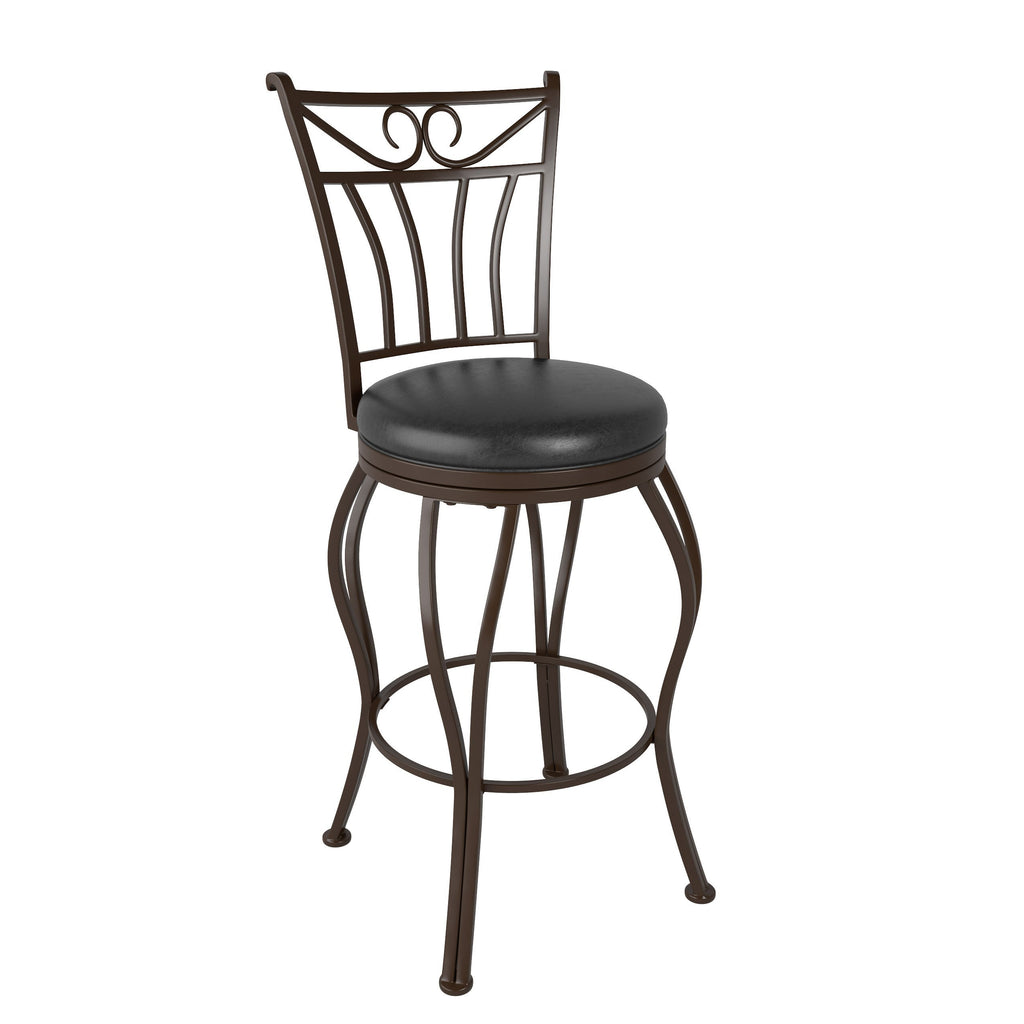 Metal Bar Height Barstool with Glossy Dark Brown Bonded Leather Seat - *CLEARANCE*