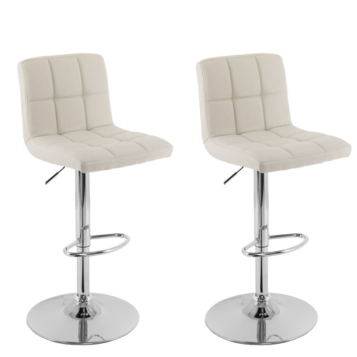 Mid Back Square Panel Fabric Adjustable Barstool, Set of 2 - *CLEARANCE*