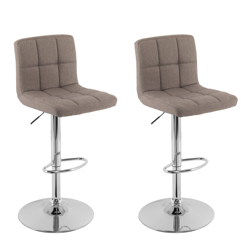 Adjustable Mid Back Square Panel Fabric Bar Stool, Set of 2 - *CLEARANCE*
