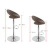 Adjustable Round Open Back Fabric Barstool, Set of 2 - *CLEARANCE*