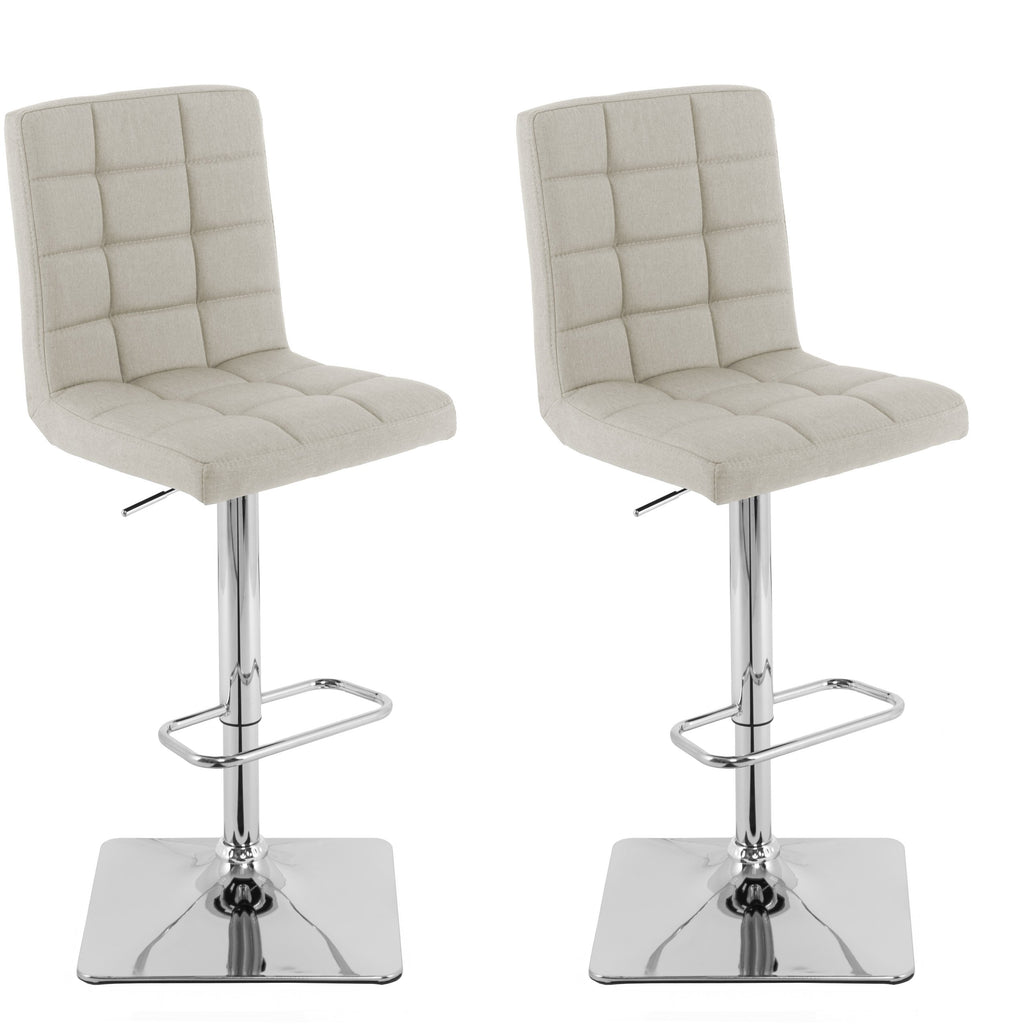 Adjustable Square Tufted Fabric Bar Stool, Set of 2