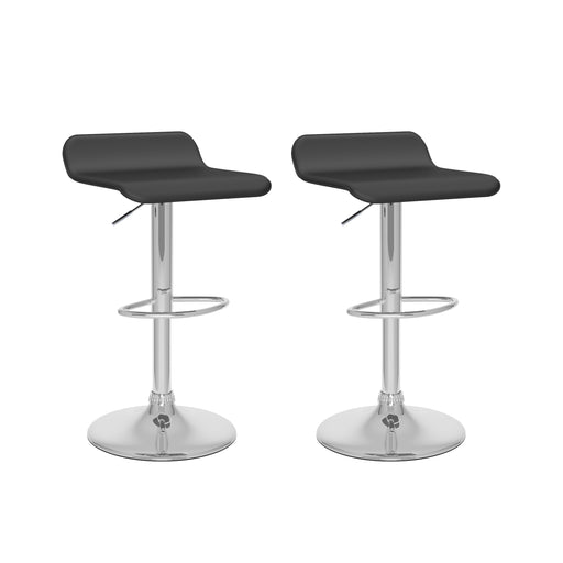 Curved low back adjustable bar stool Set of 2