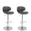Adjustable Curved Form Fitting Bar Stool in Dark Gray Bonded Leather, Set of 2