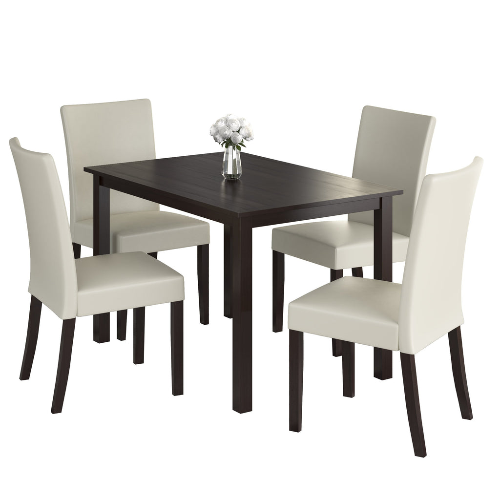 5 Piece Dining Set, with Cream Leatherette Seats