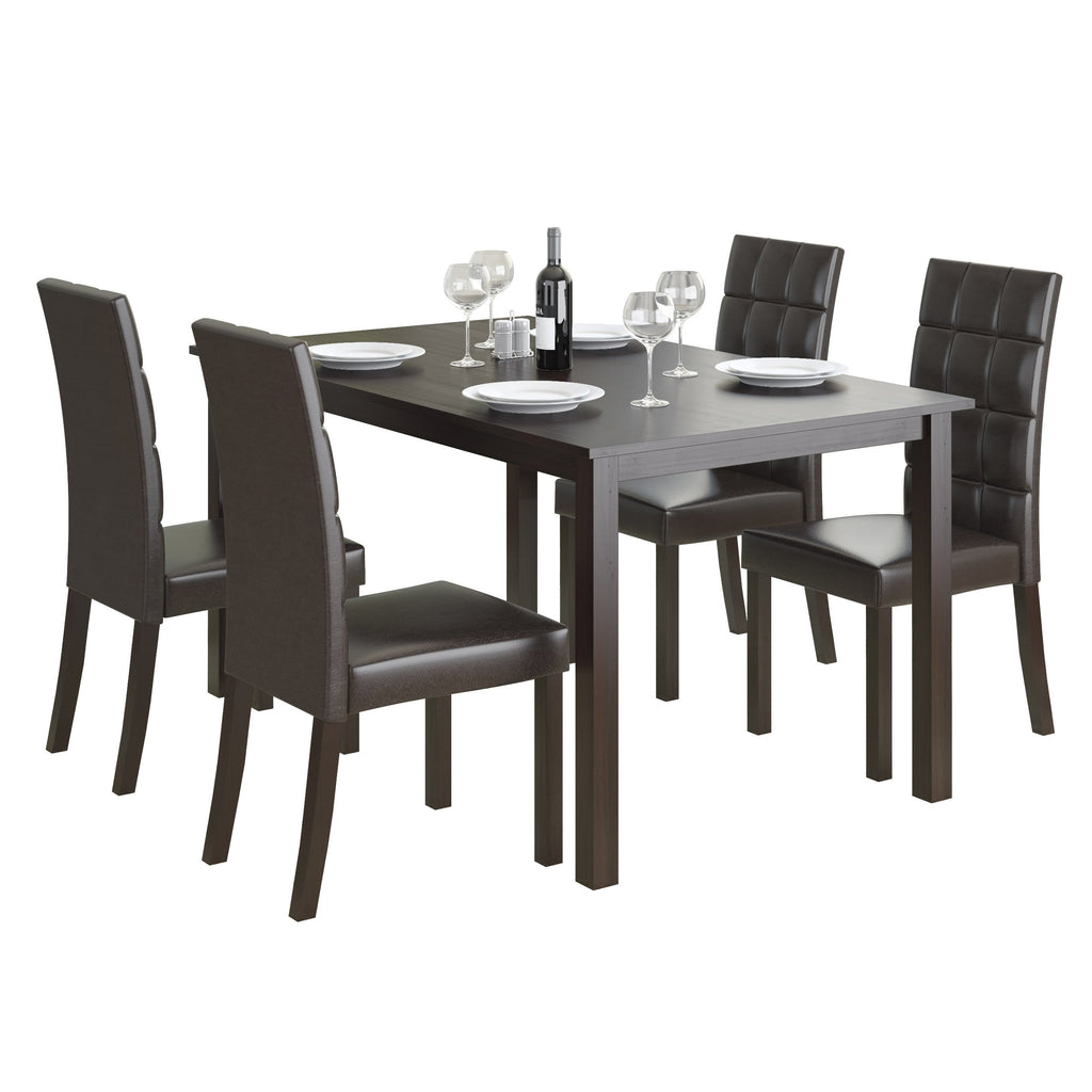 5 Piece Dining Set, with Dark Brown Leatherette Seats