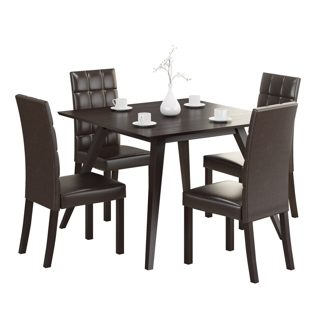 5 Piece Dining Set, with Dark Brown Leatherette Chairs - *CLEARANCE*
