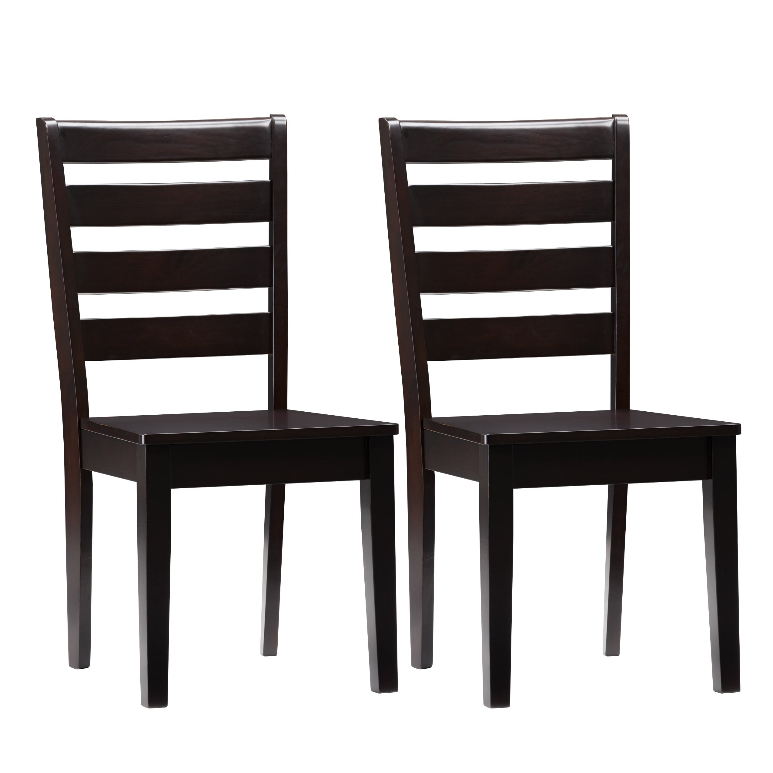 Solid Wood Dining Chairs With Horizontal Slats Set Of 2 Clearance