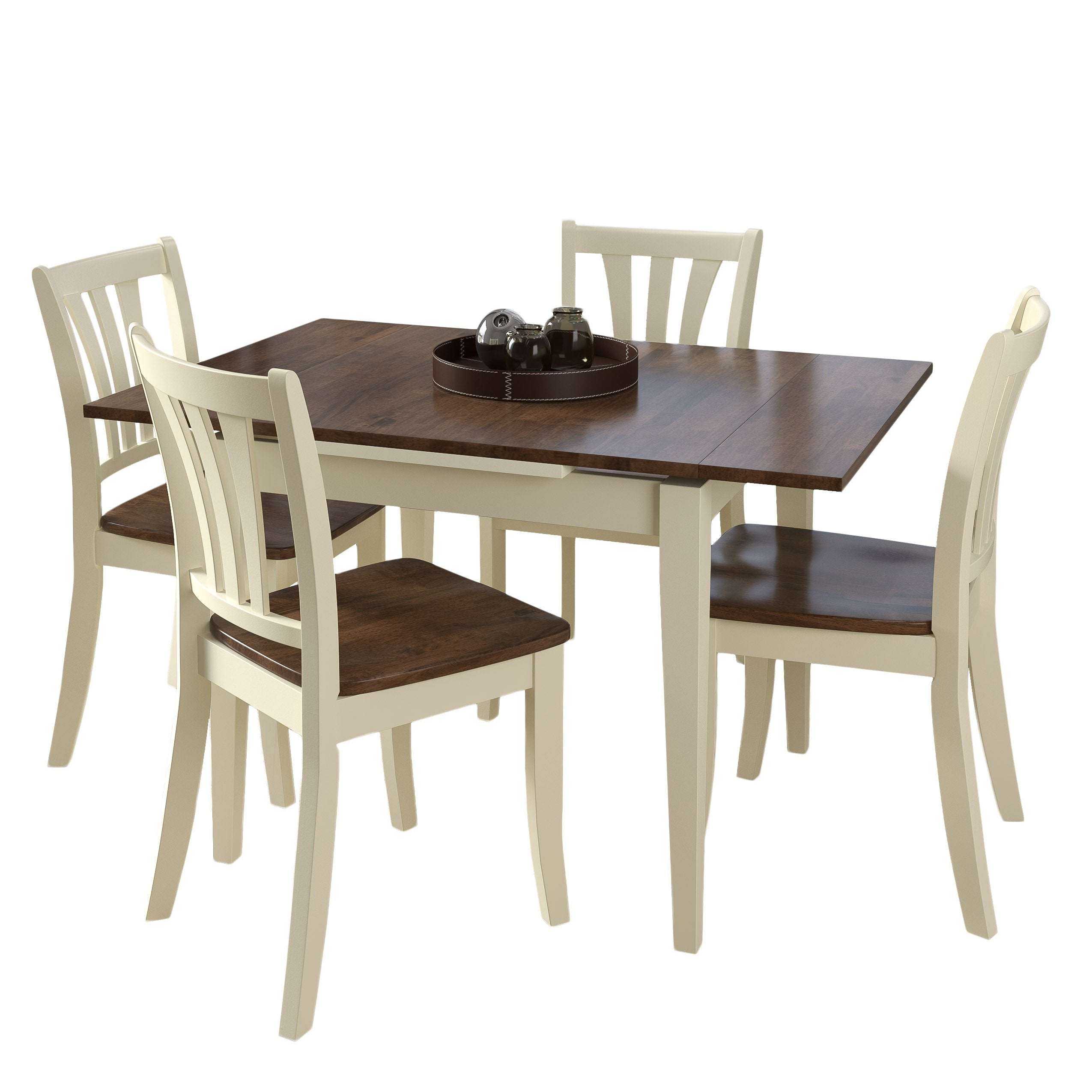 Clearance Dining Sets: 5 Piece Extendable Stained Solid Wood Dining Set