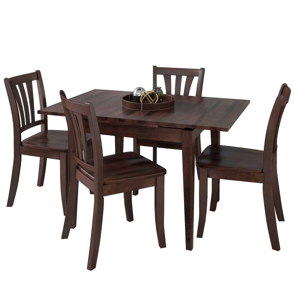 5 Piece Extendable Stained Solid Wood Dining Set - *CLEARANCE*