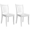 Stained Solid Wood Dining Chairs with Curved Vertical Slat Design, Set of 2
