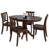 5 Piece Extendable Cappuccino Stained Solid Wood Dining Set