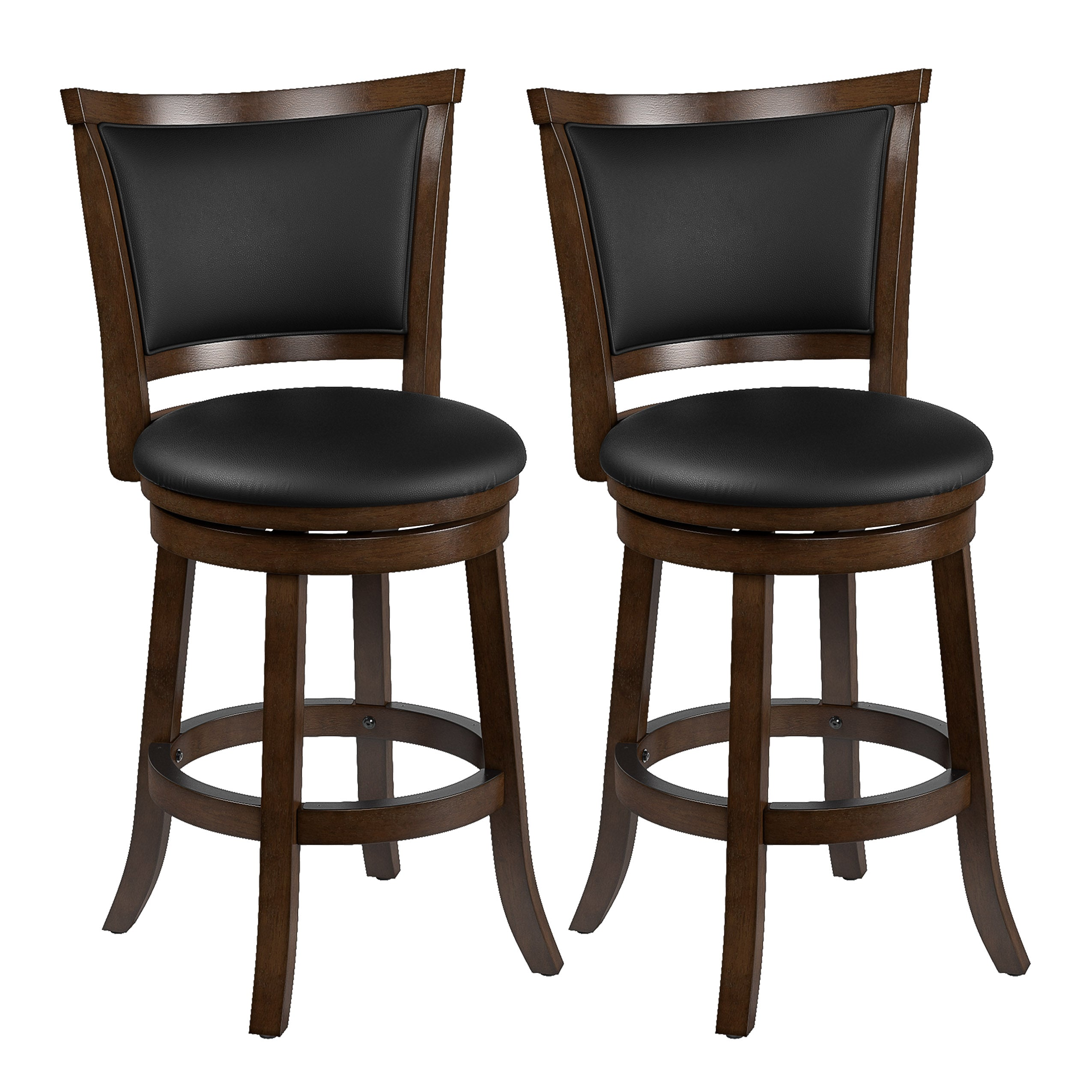 Super Counter Height Wood Bar Stools With Bonded Leather Seat And Backrest Set Of 2 Uwap Interior Chair Design Uwaporg