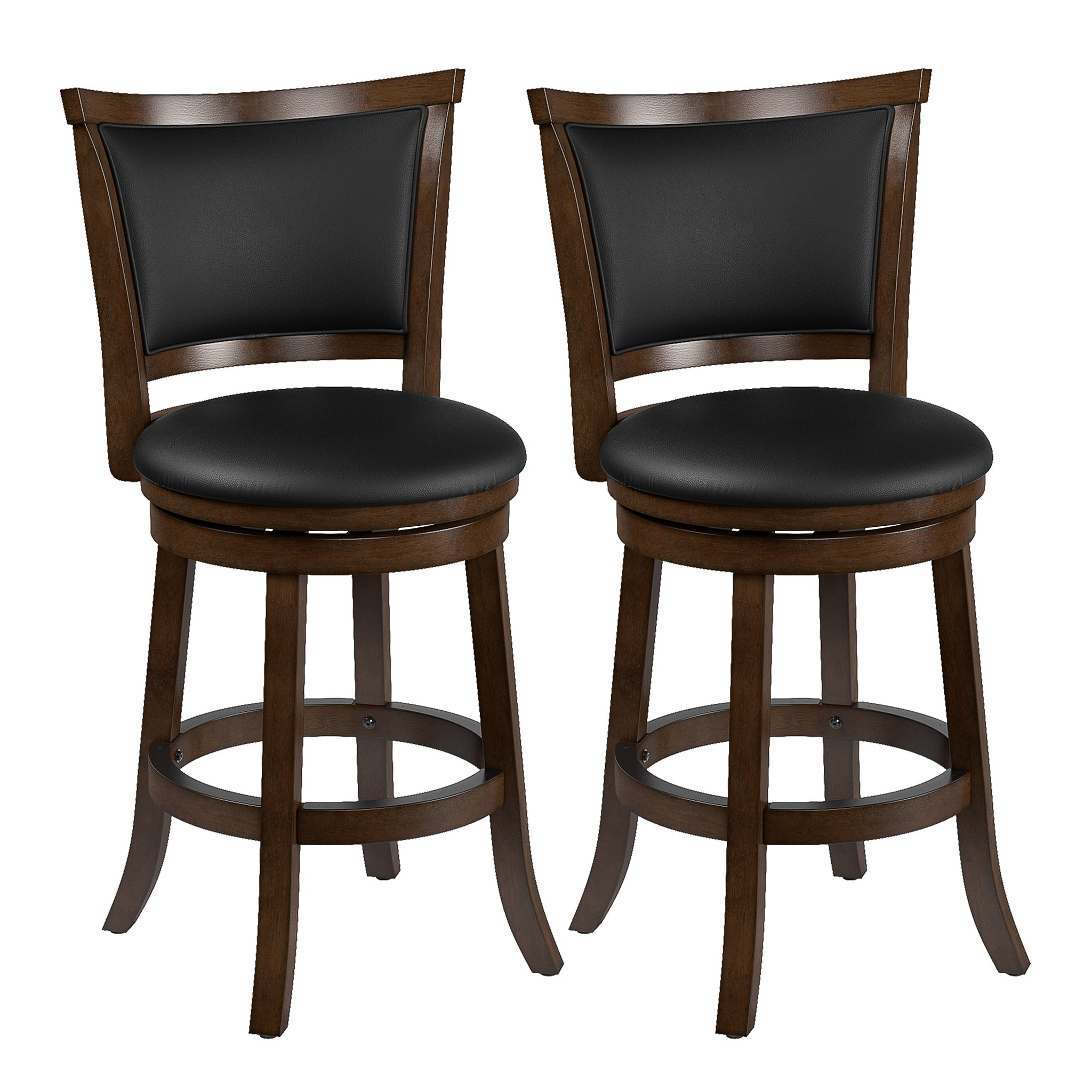 Picture of: Woodgrove Counter Height Wood Bar Stools With Pu Leather Seat And Back Corliving Furniture Us