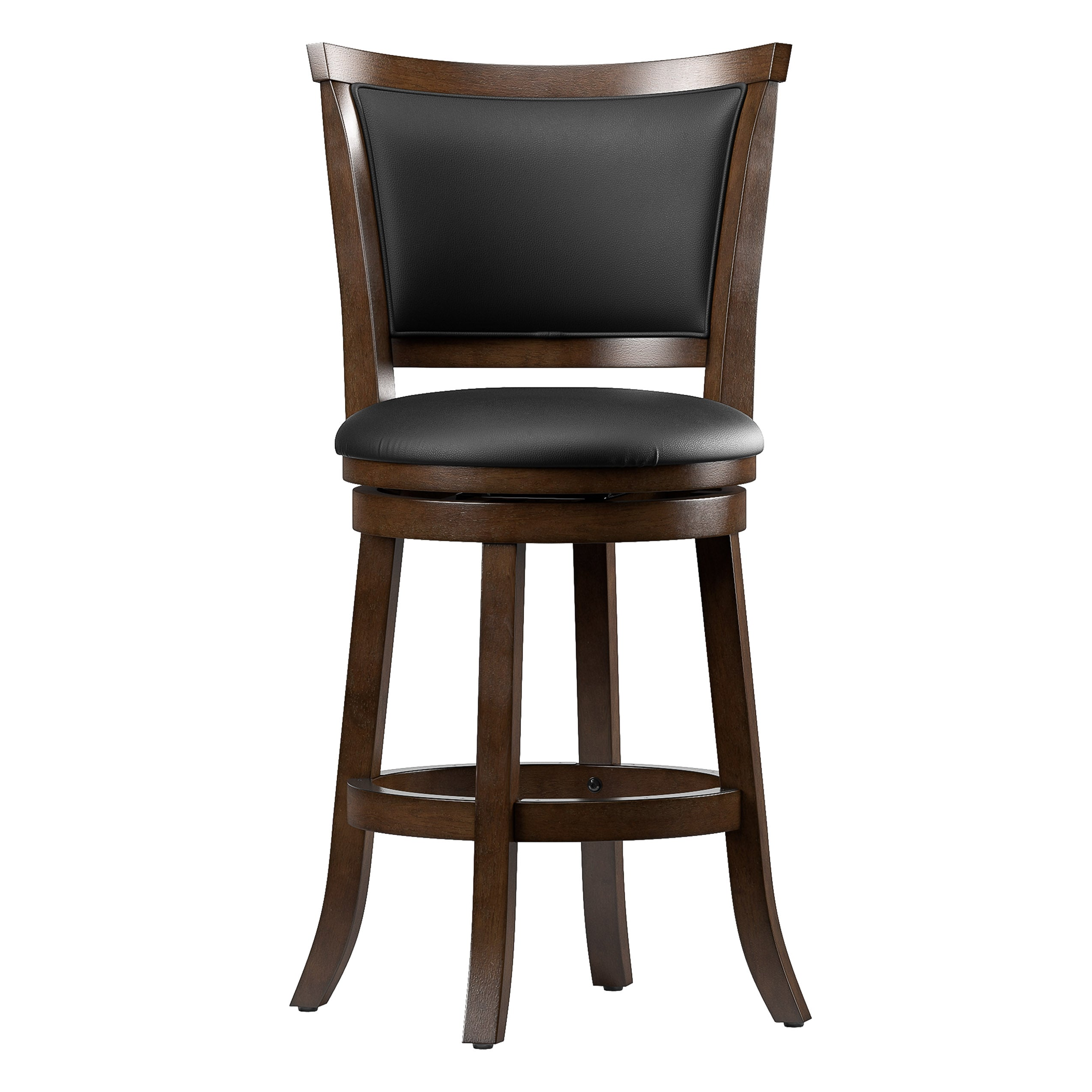 Awesome Counter Height Wood Bar Stools With Bonded Leather Seat And Backrest Set Of 2 Inzonedesignstudio Interior Chair Design Inzonedesignstudiocom