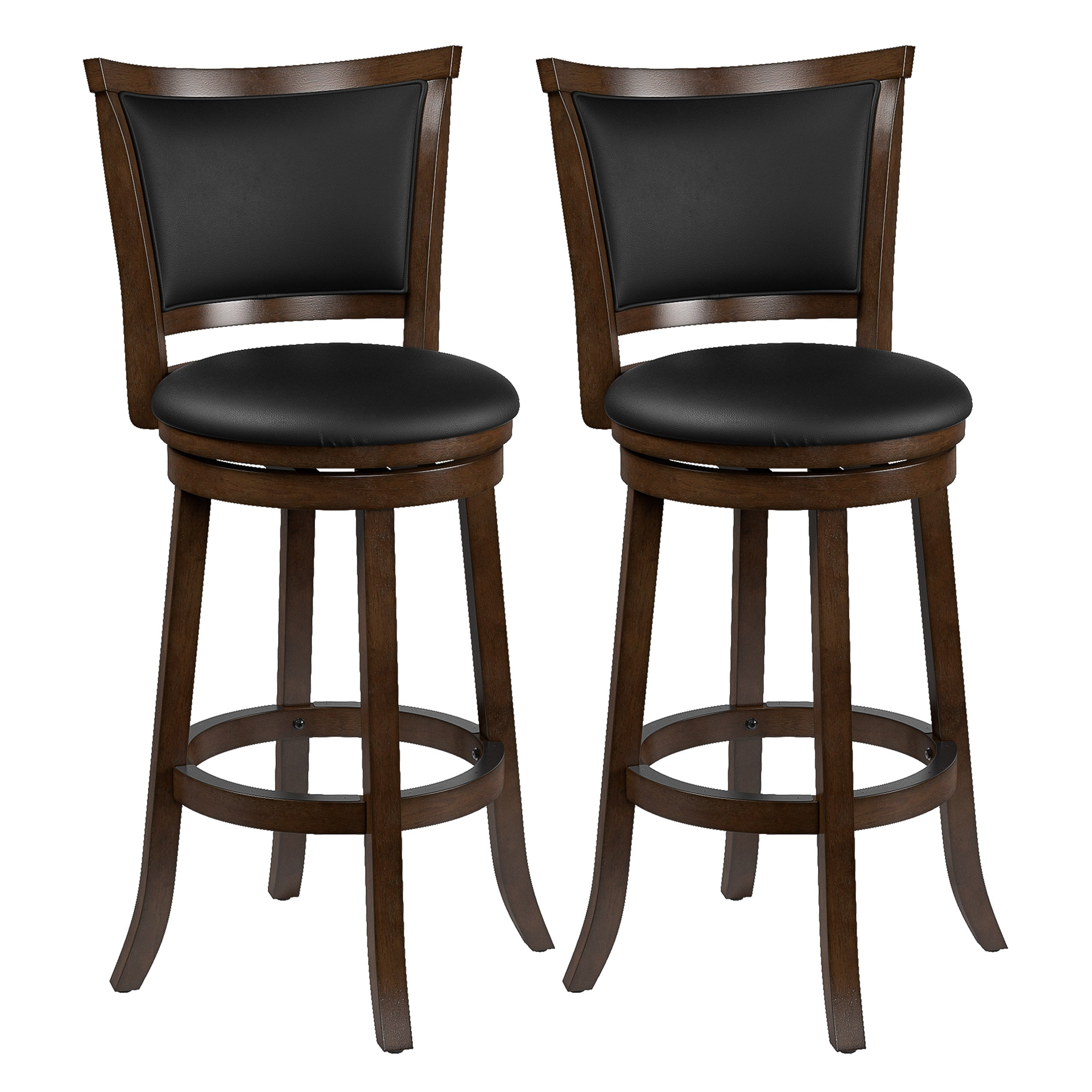 Enjoyable Bar Height Wood Bar Stools With Bonded Leather Seat And Backrest Set Of 2 Evergreenethics Interior Chair Design Evergreenethicsorg