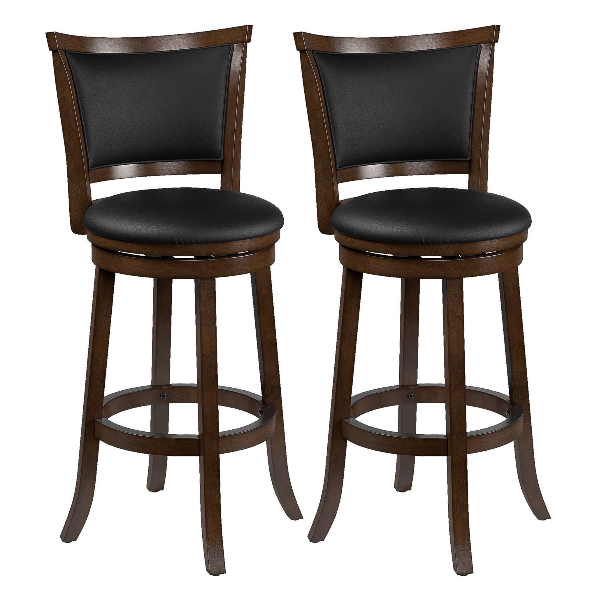 Woodgrove Bar Height Wood Bar Stools with PU Leather Seat and Backrest, set  of 5