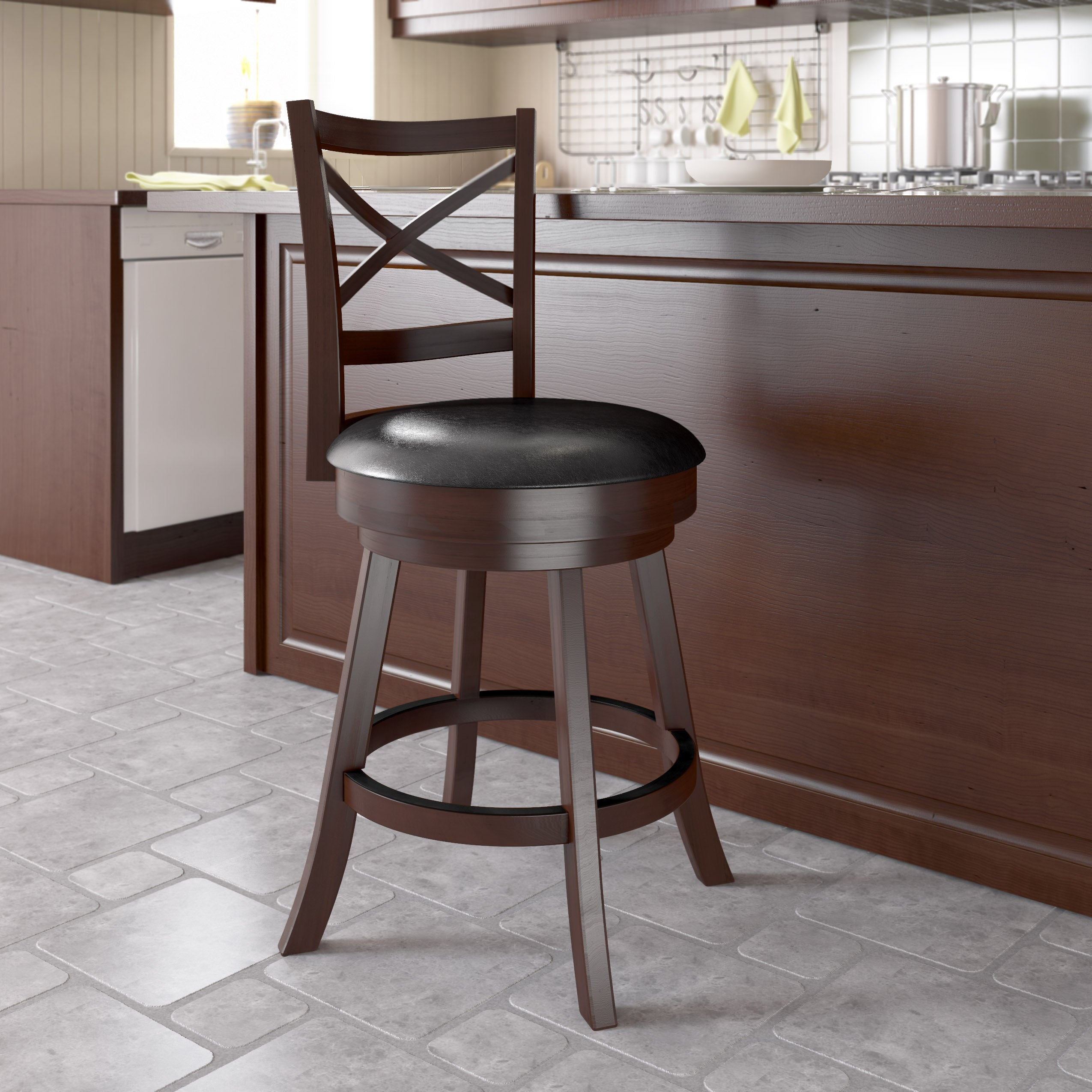 Swell Cross Back Counter Height Barstool In Espresso And Black Leatherette Clearance Spiritservingveterans Wood Chair Design Ideas Spiritservingveteransorg