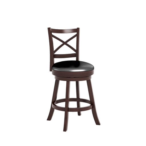 "Woodgrove Cross Back Counter Height Bar Stool in Espresso and Black Faux Leather - <body><p style=""color:#ED1C24"";>*CLEARANCE - Final Sale*</p></body>"