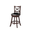 Woodgrove Cross Back Counter Height Barstool in Espresso and Black Leatherette - *CLEARANCE*