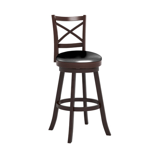 "Woodgrove Cross Back Bar Height Bar Stool in Espresso and Black Faux Leather - <body><p style=""color:#ED1C24"";>*CLEARANCE - Final Sale*</p></body>"