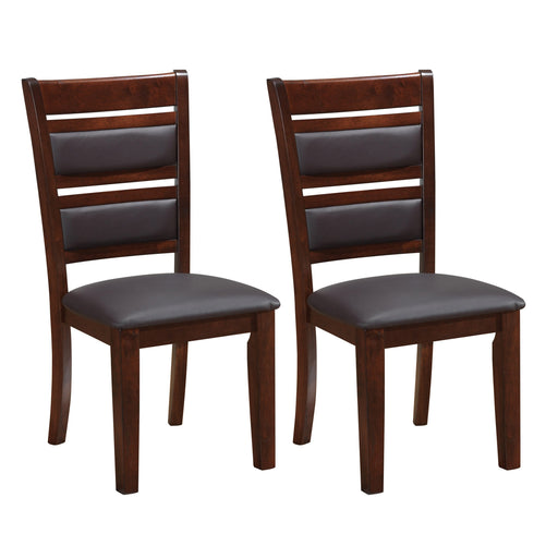 "Woodgrove Chocolate Brown Bonded Leather Dining Chairs, Set of 2 - <body><p style=""color:#ED1C24"";>*CLEARANCE - Final Sale*</p></body>"