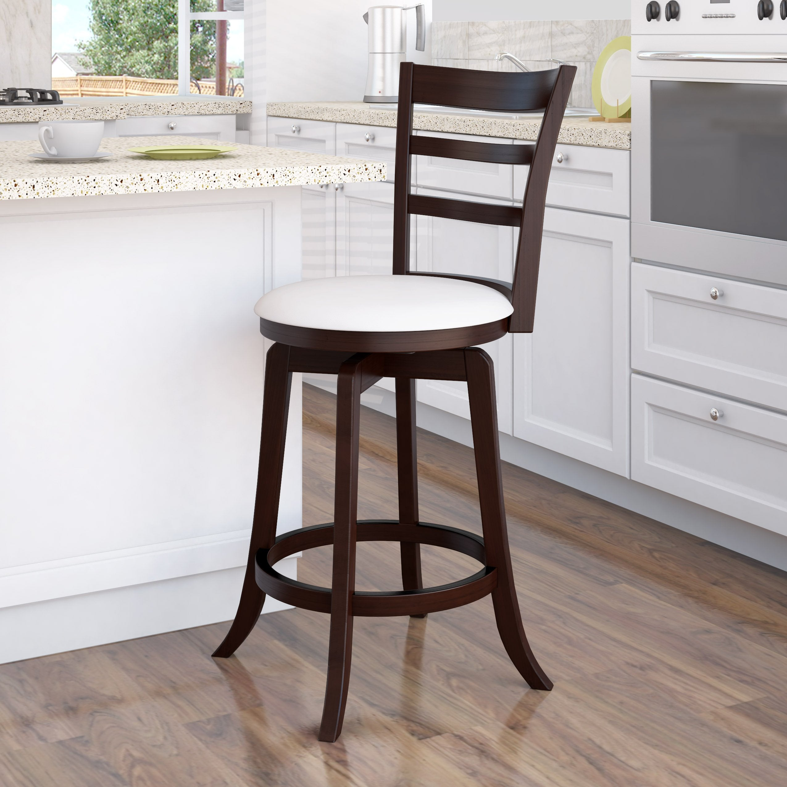 Magnificent Wood Counter Height Bar Stool With White Leatherette Seat And 3 Slat Backrest Lamtechconsult Wood Chair Design Ideas Lamtechconsultcom