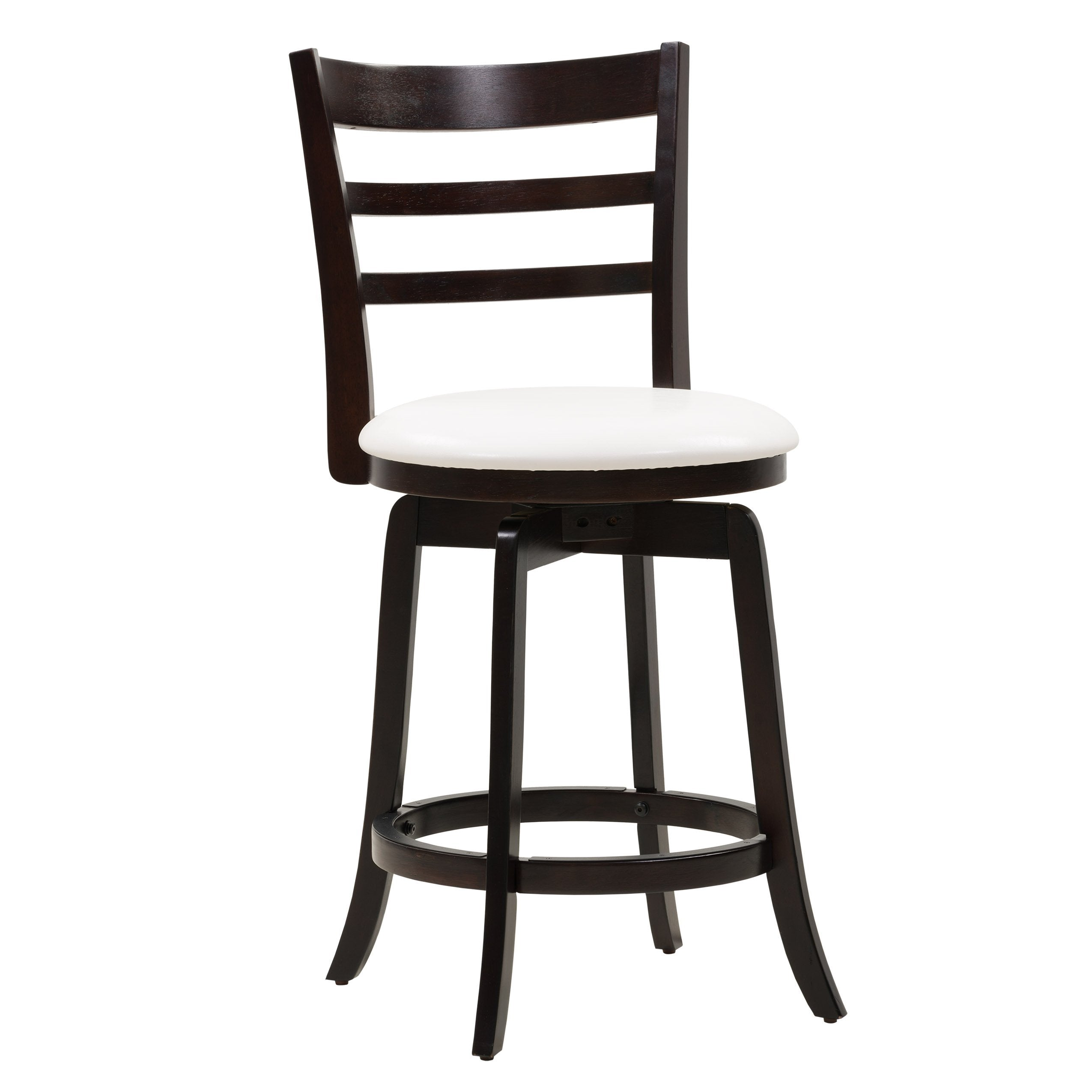 Sensational Wood Counter Height Bar Stool With White Leatherette Seat And 3 Slat Backrest Pabps2019 Chair Design Images Pabps2019Com