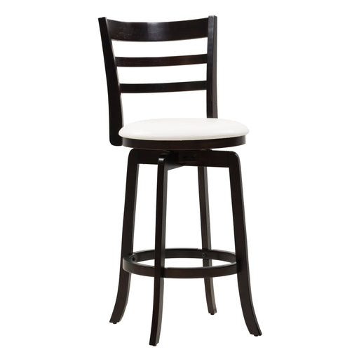 Woodgrove Bar Height Wood Bar Stool with PU Leather Seat and 3-Slat Backrest