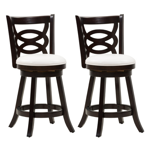 Counter Height Wood Bar Stool with White Leatherette Seat and Circle Pattern Backrest, set of 2