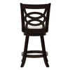Woodgrove Counter Height Wood Bar Stool with White Leatherette Seat and Circle Pattern Backrest, set of 2
