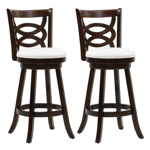 Woodgrove Bar Height Wood Bar Stool with PU Leather Seat and Circle Pattern Backrest, set of 2