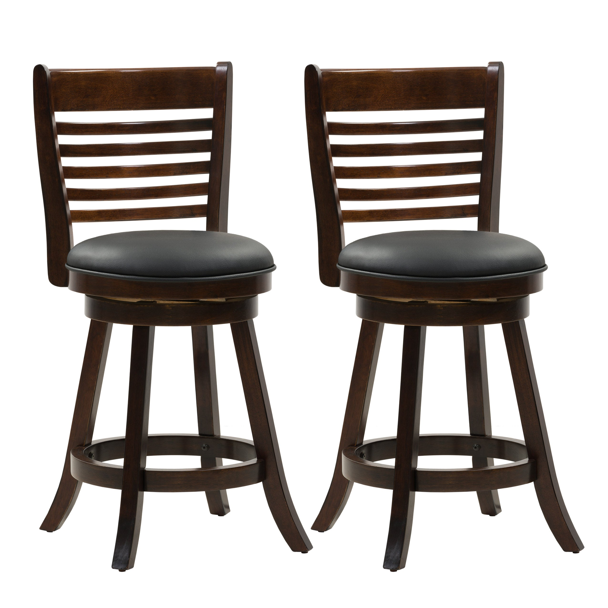 Prime Wood Counter Height Bar Stool Bonded Leather Seat 6 Slat Backrest Set Of 2 Uwap Interior Chair Design Uwaporg