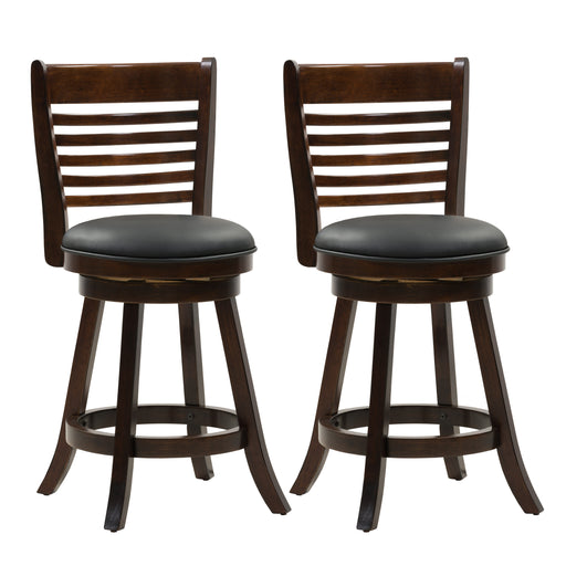 Wood Counter Height Bar Stool, Bonded Leather Seat, 6-Slat Backrest, set of 2