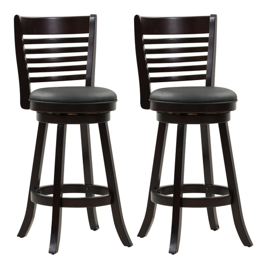 Woodgrove Bar Height Wood Bar Stool with PU Leather Seat and 6-Bar Backrest, set of 2